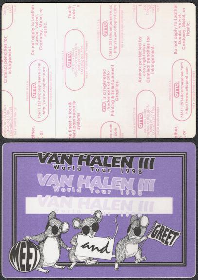 ##MUSICBP0727 - Van Halen OTTO Cloth Backstage Pass from the 1998 Van Halen III Tour