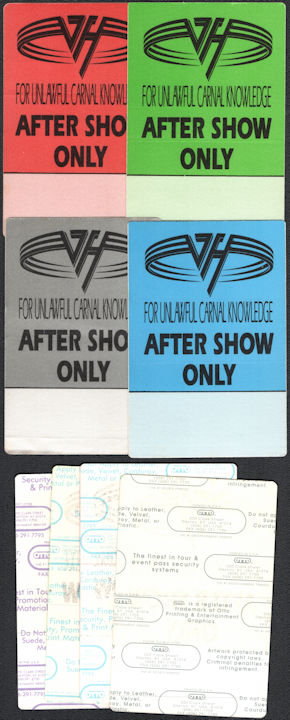 ##MUSICBP0806 - Group of 4 Different Colored Van Halen OTTO Cloth After Show Only Backstage Passes from the Unlawful Carnal Knowledge Tour