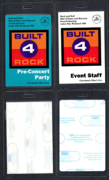 ##MUSICBP0144 - Pair of Laminated OTTO 1995 Rock Hall of Fame Opening Backstage Passes - Bruce Springsteen, Allman Brothers, etc.