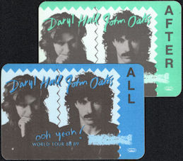 ##MUSICBP0726  - Two Different Daryl Hall & John Oates OTTO Cloth Backstage All Access/After Show Passes from the 1988/89 ooh yeah! Tour
