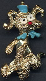 #BEADS0838 - Well Made Metal Poodle Dog Pin with Hand Painted Details