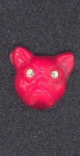 #BEADS0552 - 12mm Eerie Orange Dog Head with Rhinestone Eyes - Halloween Spooky - As low as $1.20