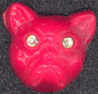 #BEADS0552 - 12mm Eerie Orange Dog Head with Rhinestone Eyes - Halloween Spooky - As low as $1.20
