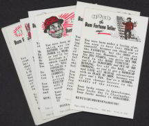 #ZZA010 - Complete Set of Eight 1966 Exhibit Supply Hobo the Bum Fortune Teller Cards
