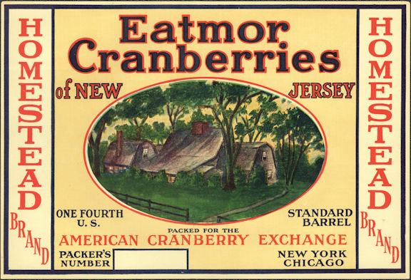#ZLC464 - Homestead Brand Cranberries 1/4 Barrel Cranberries Label - American Cranberry Exchange