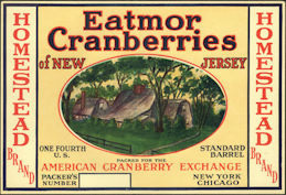 #ZLC464 - Homestead Brand Cranberries 1/4 Barrel Cranberries Label - American Cranberry Exchange