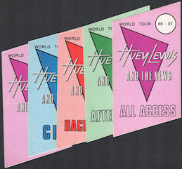##MUSICBP0563  - Group of 5 Different 1986/87 Huey Lewis and the News Trapezoidal OTTO Cloth Backstage Passes from the World Tour
