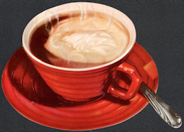 #SIGN217 - Diecut Diner Sign of a Steaming Cup of Hot Chocolate with a Spoon