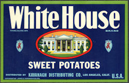 ZLSH605 - Group of 100 White House Sweet Potatoes Crate Labels - Pictures the White House