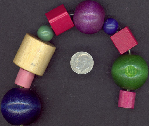 #BEADS0033 - Group of 20 Very Large Wooden Multi-Colored Hippie Beads