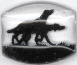 #BEADS0265 - Reverse Painted Intaglio with Hunting Dogs