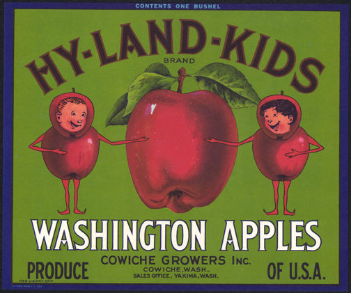 #ZLC293 - Large Bushel Size Hy-Land-Kids Apple Crate Label - Green Version