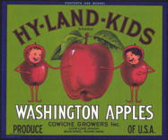 #ZLC293 - Large Bushel Size Hy-Land-Kids Apple Crate Label - Green Version