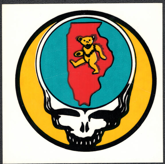 ##MUSICBP2002 - Grateful Dead Tour Sticker/Decal - Bear Walking Through Illinois
