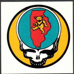 ##MUSICBP2002 - Grateful Dead Tour Sticker/Decal - Bear Walking Through Illinois