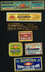 #ZBOT402 - Group of 4 different Diamond Ink Bottle Labels