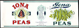 #ZLCA295 - Iona Peas Can Label - The Great Atlantic and Pacific Tea Co. - Indian