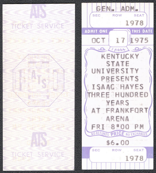 ##MUSICBP0741 - 1975 Isaac Hayes Ticket from the Frankfort Arena in 1975