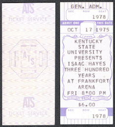 ##MUSICBPT0038 - 1975 Isaac Hayes Ticket from the Frankfort Arena in 1975