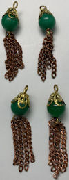 #BEADS0896 - Group of 4 Fancy Beaded Metal and Copper Tassel with Jade Colored Bead - Japan
