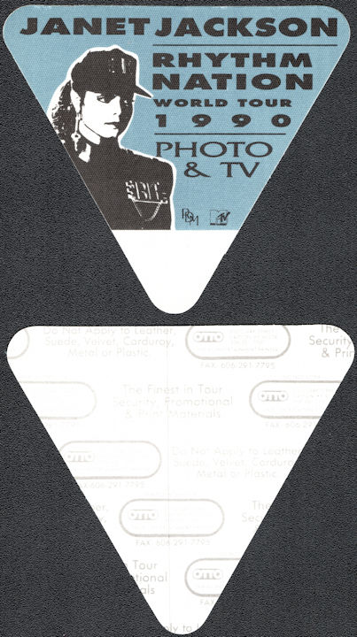 ##MUSICBP0656 - Janet Jackson OTTO Cloth Backstage Photo/TV Pass from the 1990 Rhythm Nation Tour