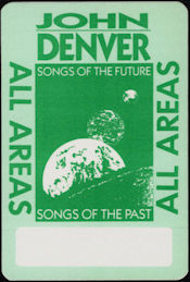 ##MUSICBP0114 - Rare John Denver OTTO Cloth Backstage Pass from the 1988 Songs of the Future Tour
