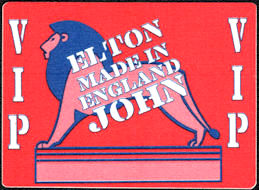 ##MUSICBP0554  - 1995 Elton John OTTO Cloth Backstage VIP Pass with a Standing Lion from the Made in England Tour