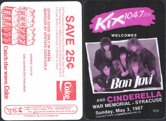 ##MUSICBP0796 - Bon Jovi and Cinderella OTTO Radio Promo Cloth Backstage Pass from the 1987 Slippery When Wet Tour - Radio KIX 104.7FM - Syracuse War Memorial