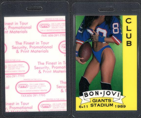 ##MUSICBP0828 - 1989 Bon Jovi Laminated Backstage Stadium Club Pass from the 1989 Homecoming Show at Giants Stadium