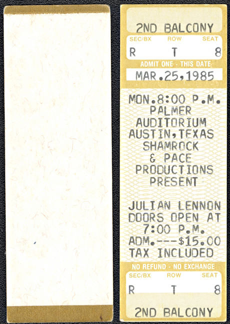 ##MUSICBPT0032 - Scarce Julian Lennon (John Lennon's Son) Ticket from his March 25, 1985 Concert at Palmer Auditorium