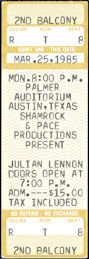 ##MUSICBPT0032 - Scarce Julian Lennon (John Lennon's Son) Ticket from his March 25, 1985 Concert at Palmer Auditorium