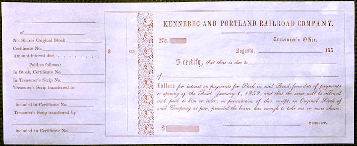 #ZZCE087 - Very Old The Kennebec and Portland Railroad Company Stock Receipt