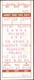##MUSICBPT0023 - Rare 1975 The Kinks & Cockney Rebel Ticket from the Michigan Palace