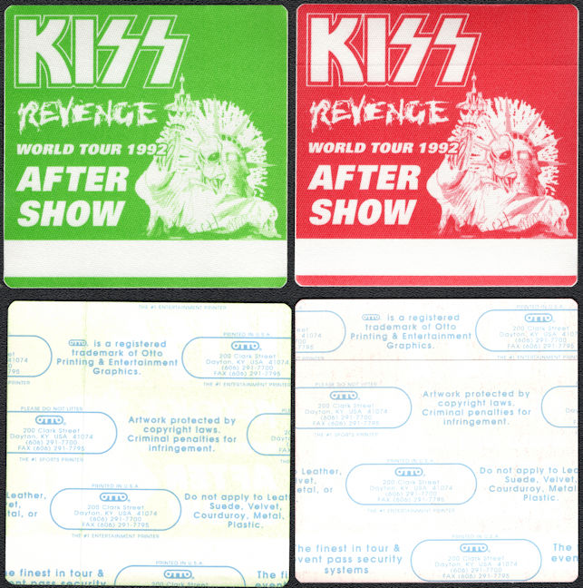 ##MUSICBP0394 - Two Different colored KISS OTTO Cloth After Show Backstage Passes from the 1992 Revenge Tour