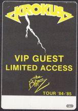 ##MUSICBP0032  - 1984/85 Krokus The Blitz Tour OTTO Backstage Pass