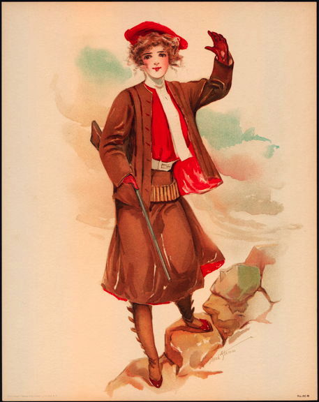 #MS169 - 1908 Victorian Print - Lady with a Rifle
