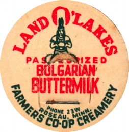 #DC187 - Land O' Lakes Bulgarian Buttermilk Milk Bottle Cap - Indian