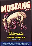 #ZLC049 - Larger Mustang California Vegetables Crate Label