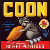 #ZLC065 - Coon Porto Rican Sweet Potatoes Crate Label