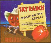 #ZLC070 - Sky Ranch Apple Crate Label with Apple Head Cowboy