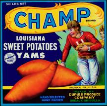 #ZLC093 - Champ Louisiana Sweet Potatoes Crate Label