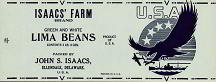 #ZLCA049 - Isaacs' Farm WWII Lima Beans Can Label