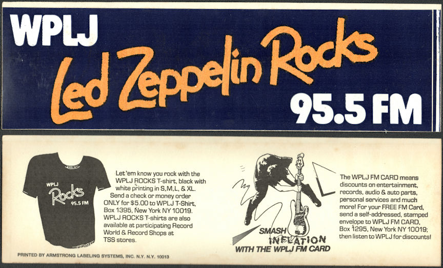 ##MUSICBG0137 - 1977 Led Zeppelin Rocks WPLJ Bumper Sticker