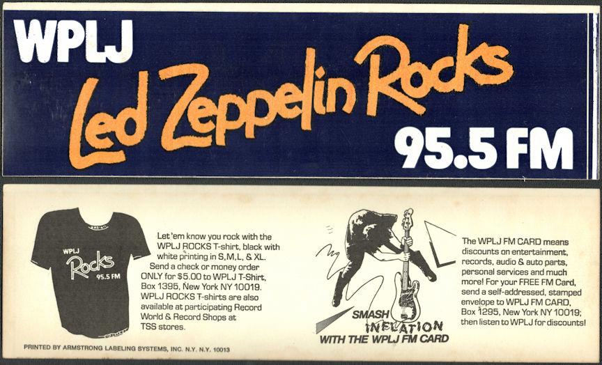 ##MUSICBG0137 - 1977 Led Zeppelin Rocks WPLJ Bumper Sticker