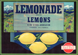 #ZLC474 - Lemonade Brand Lemon Crate Label - Ivanhoe, CA