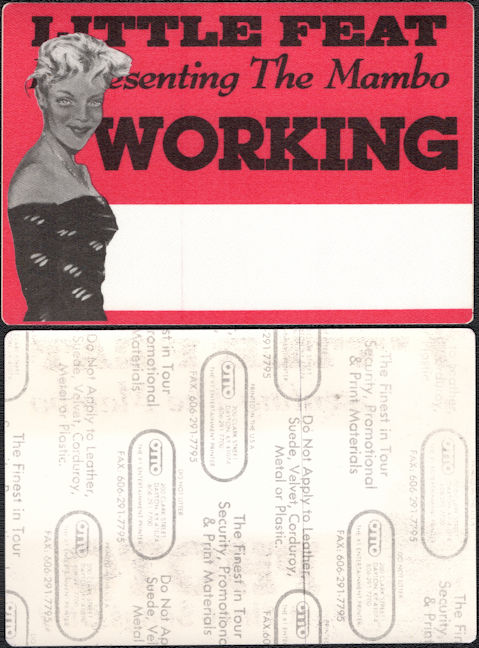 """##MUSICBP0134 - Little Feat OTTO Cloth """"Working"""" Backstage Pass from """"Representing the Mambo"""" Tour"""