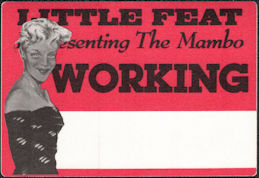 "##MUSICBP0134 - Little Feat OTTO Cloth ""Working"" Backstage Pass from ""Representing the Mambo"" Tour"