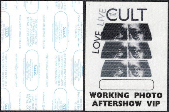 "##MUSICBP0550 - 2 Different The Cult OTTO Cloth Backstage Passes from the 2009 ""Love Live"" Tour"