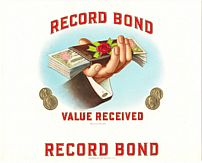 #ZLSC017 - Record Bond Value Received Cigar Box Label