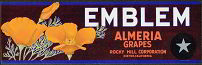 #ZLSG021 - Emblem Almeria Grapes Crate Label - Poppies